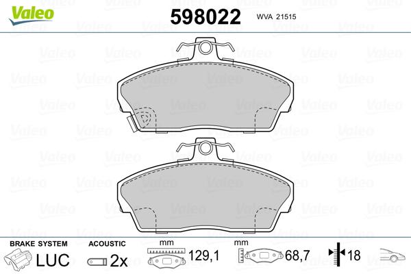 Plaquettes de frein avant VALEO 598022 (Jeu de 4)