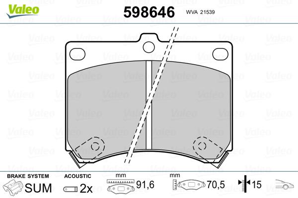 Plaquettes de frein avant VALEO 598646 (Jeu de 4)