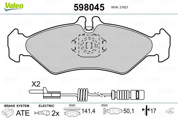 Plaquettes de frein arriere VALEO 598045 (Jeu de 4)
