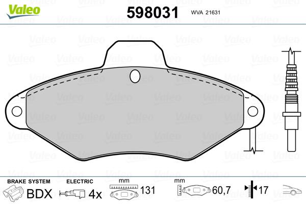 Plaquettes de frein avant VALEO 598031 (Jeu de 4)
