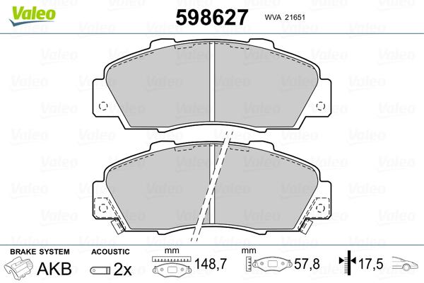 Plaquettes de frein VALEO 598627 (Jeu de 4)