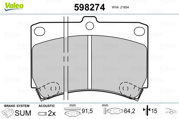 Plaquettes de frein avant VALEO 598274 (Jeu de 4)