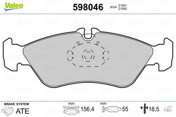 Kit de plaquettes de frein, frein à disque VALEO 598046 (Jeu de 4)