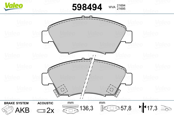 Plaquettes de frein avant VALEO 598494 (Jeu de 4)