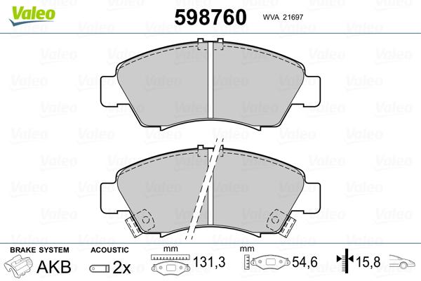 Plaquettes de frein avant VALEO 598760 (Jeu de 4)