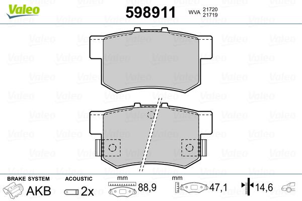 Plaquettes de frein VALEO 598911 (Jeu de 4)