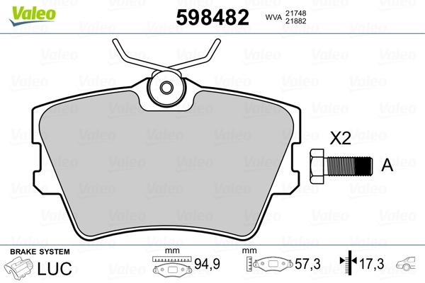 Plaquettes de frein arriere VALEO 598482 (Jeu de 4)