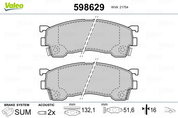 Plaquettes de frein avant VALEO 598629 (Jeu de 4)