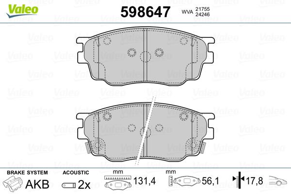 Plaquettes de frein avant VALEO 598647 (Jeu de 4)