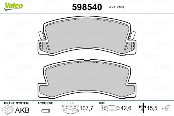 Kit de plaquettes de frein, frein à disque VALEO 598540 (Jeu de 4)