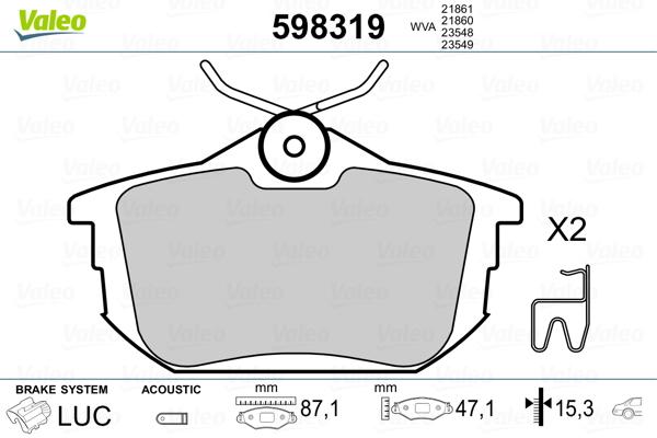 Kit de plaquettes de frein, frein à disque VALEO 598319 (Jeu de 4)