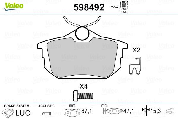 Kit de plaquettes de frein, frein à disque VALEO 598492 (Jeu de 4)