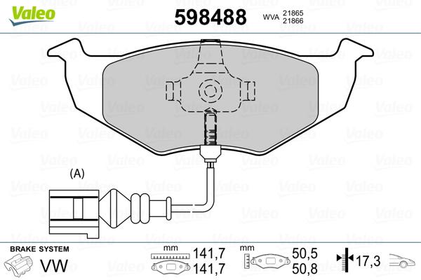 Plaquettes de frein avant VALEO 598488 (Jeu de 4)