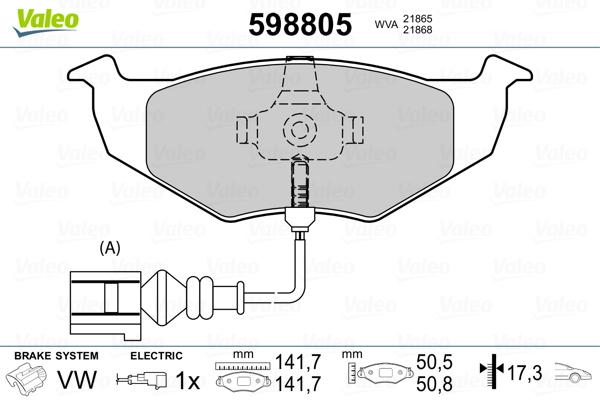 Plaquettes de frein avant VALEO 598805 (Jeu de 4)