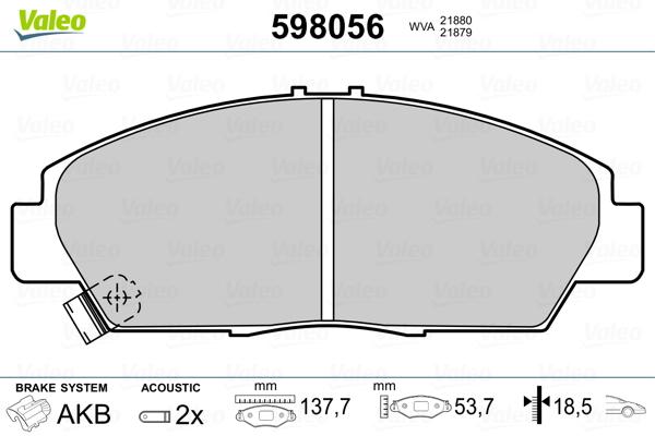 Plaquettes de frein avant VALEO 598056 (Jeu de 4)