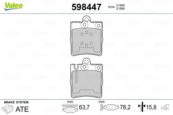 Kit de plaquettes de frein, frein à disque VALEO 598447 (Jeu de 4)
