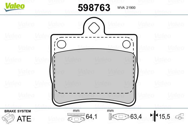 Kit de plaquettes de frein, frein à disque VALEO 598763 (Jeu de 4)