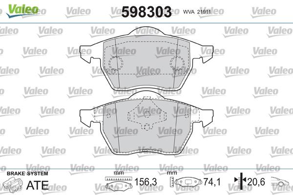 Plaquettes de frein avant VALEO 598303 (Jeu de 4)