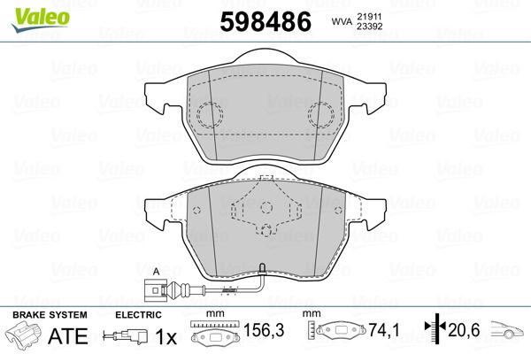 Plaquettes de frein avant VALEO 598486 (Jeu de 4)