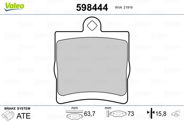 Kit de plaquettes de frein, frein à disque VALEO 598444 (Jeu de 4)