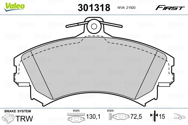 Plaquettes de frein avant VALEO 301318 (X1)