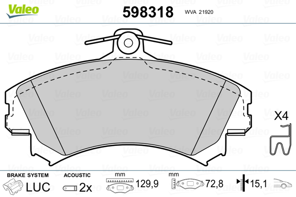 Plaquettes de frein avant VALEO 598318 (Jeu de 4)