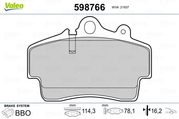Plaquettes de frein avant VALEO 598766 (Jeu de 4)