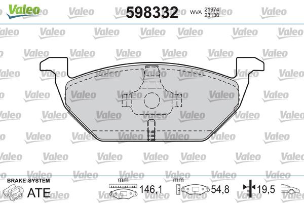 Plaquettes de frein avant VALEO 598332 (Jeu de 4)
