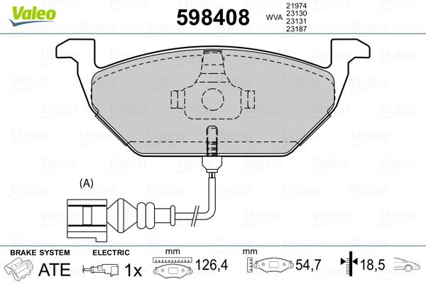 Plaquettes de frein avant VALEO 598408 (Jeu de 4)