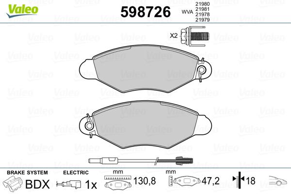 Plaquettes de frein avant VALEO 598726 (Jeu de 4)