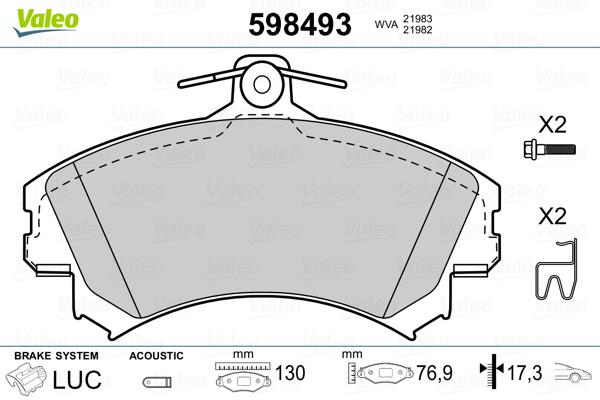 Plaquettes de frein avant VALEO 598493 (Jeu de 4)