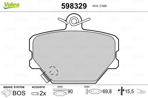Plaquettes de frein avant VALEO 598329 (Jeu de 4)