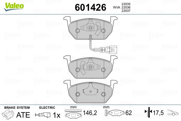 Plaquettes de frein avant VALEO 601426 (Jeu de 4)
