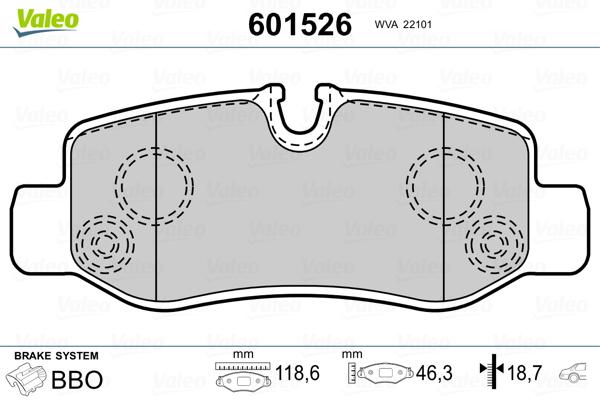 Kit de plaquettes de frein, frein à disque VALEO 601526 (Jeu de 4)