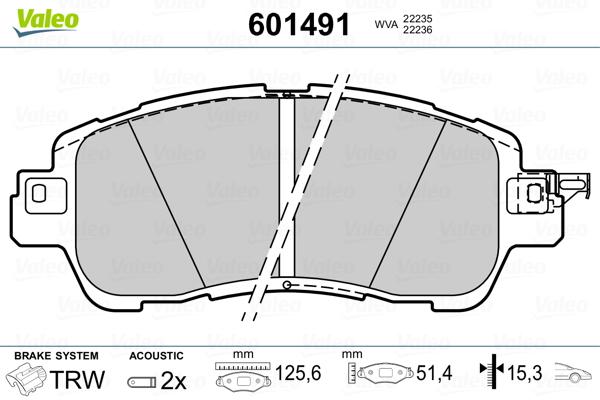 Plaquettes de frein avant VALEO 601491 (Jeu de 4)