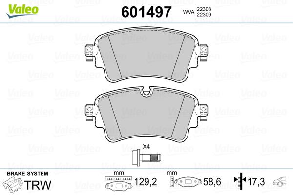 Plaquettes de frein arriere VALEO 601497 (Jeu de 4)