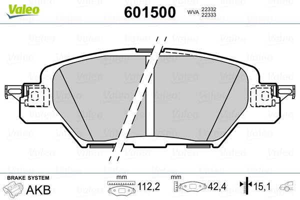 Kit de plaquettes de frein, frein à disque VALEO 601500 (Jeu de 4)