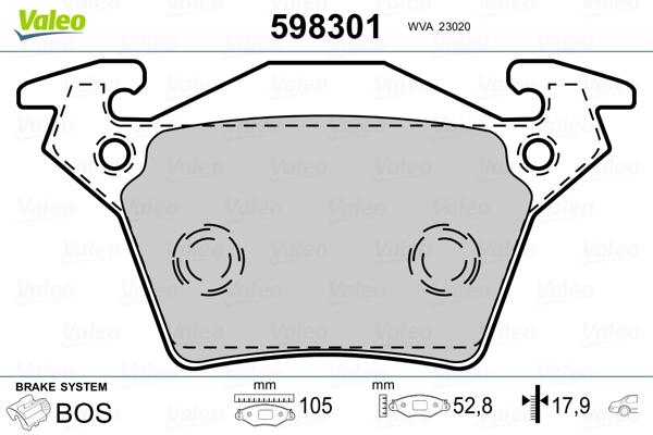 Kit de plaquettes de frein, frein à disque VALEO 598301 (Jeu de 4)