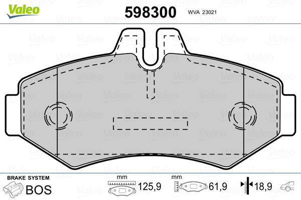Kit de plaquettes de frein, frein à disque VALEO 598300 (Jeu de 4)