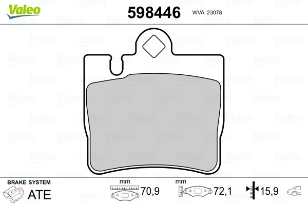 Kit de plaquettes de frein, frein à disque VALEO 598446 (Jeu de 4)