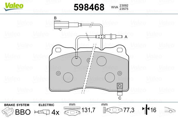 Plaquettes de frein avant VALEO 598468 (Jeu de 4)