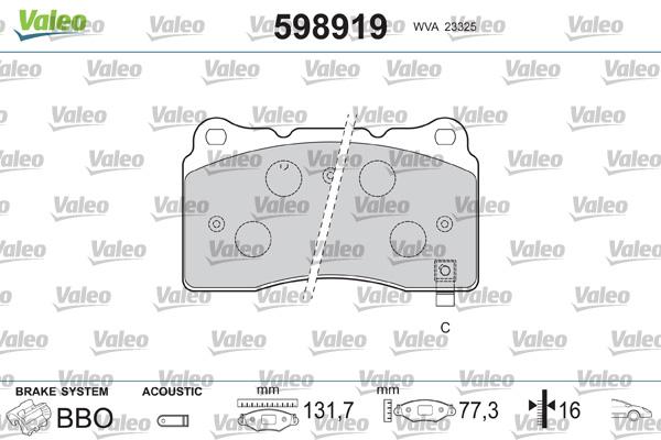 Plaquettes de frein VALEO 598919 (Jeu de 4)