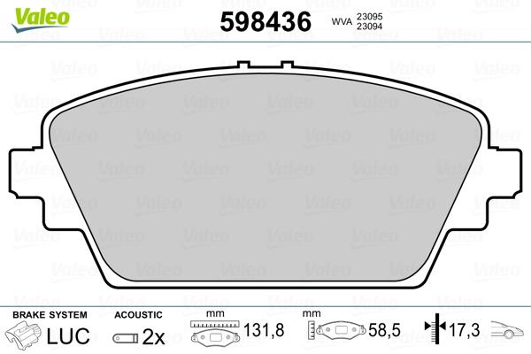 Plaquettes de frein avant VALEO 598436 (Jeu de 4)
