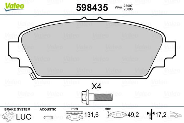 Plaquettes de frein avant VALEO 598435 (Jeu de 4)