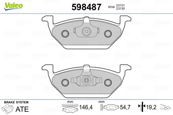Plaquettes de frein avant VALEO 598487 (Jeu de 4)