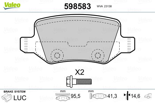 Kit de plaquettes de frein, frein à disque VALEO 598583 (Jeu de 4)