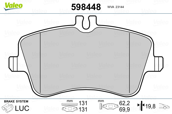Kit de plaquettes de frein, frein à disque VALEO 598448 (Jeu de 4)