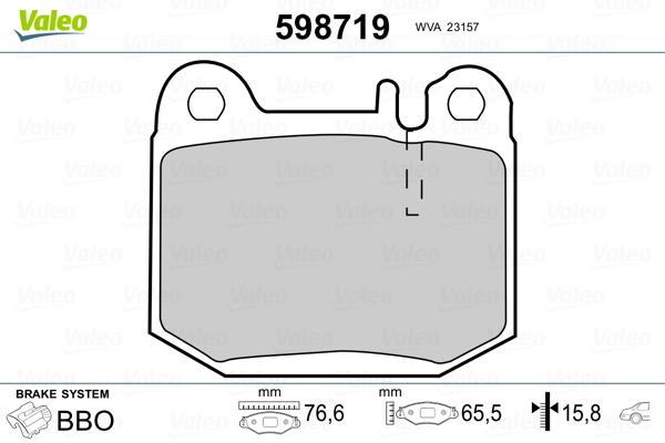 Kit de plaquettes de frein, frein à disque VALEO 598719 (Jeu de 4)