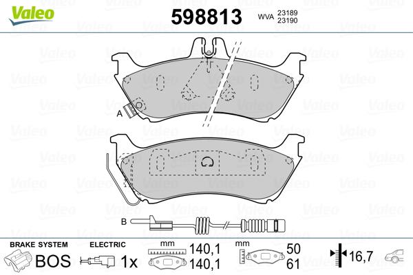 Kit de plaquettes de frein, frein à disque VALEO 598813 (Jeu de 4)