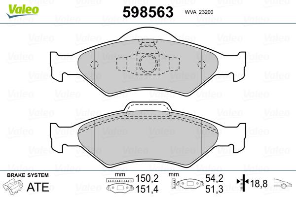 Plaquettes de frein avant VALEO 598563 (Jeu de 4)